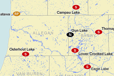 2015 Michigan Muskie Waters Map